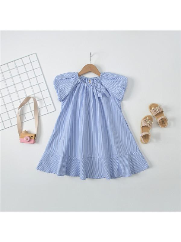 【3Y-13Y】Girls Striped Puff Sleeve Dress
