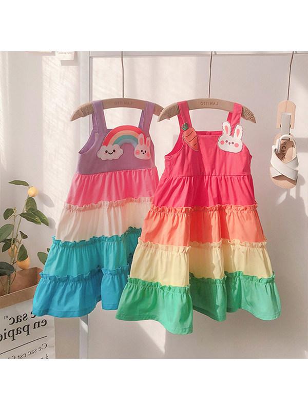 【18M-7Y】Girls Rainbow Contrast Stitching Trendy Cake Skirt