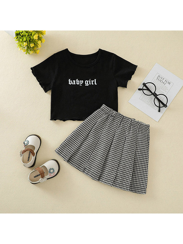 【12M-5Y】Girls Letter T-shirt Top Plaid Skirt Set