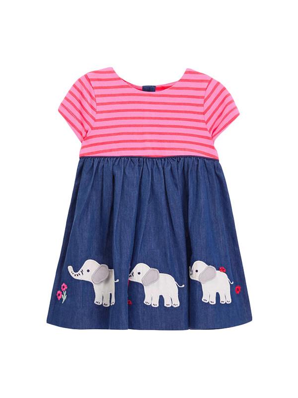 【18M-9Y】Girls Round Neck short Sleeve Cartoon Embroidered Striped Dress