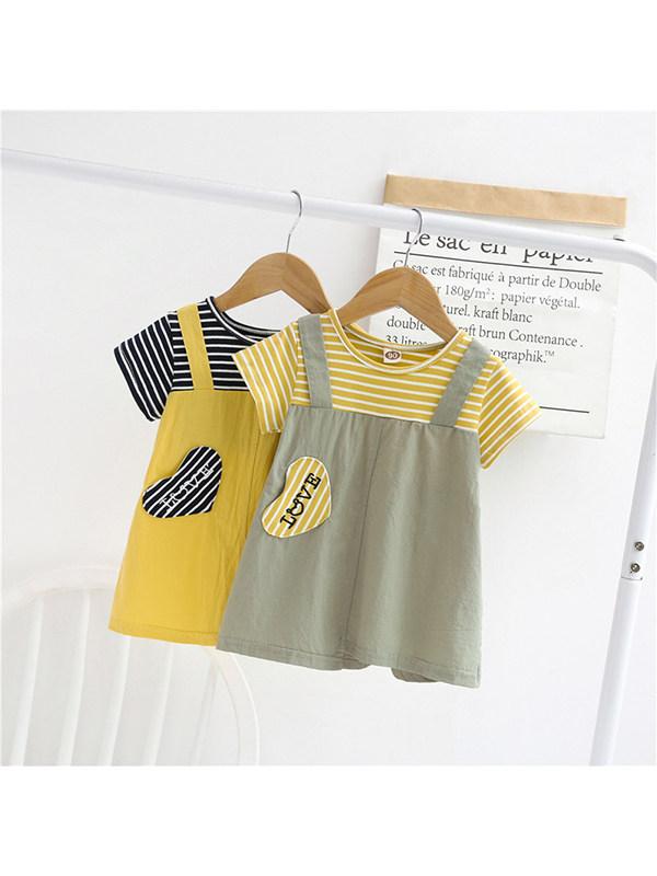 【18M-7Y】Girls' Round Neck Short-sleeved Fake Two-piece Splicing Dress
