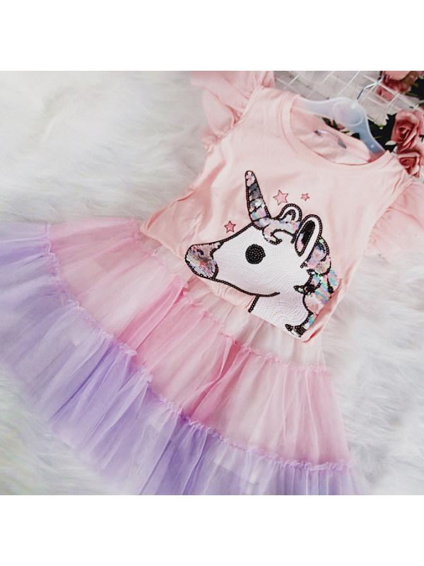 【2Y-9Y】Cute Unicorn T-shirt and Mesh Skirt Set