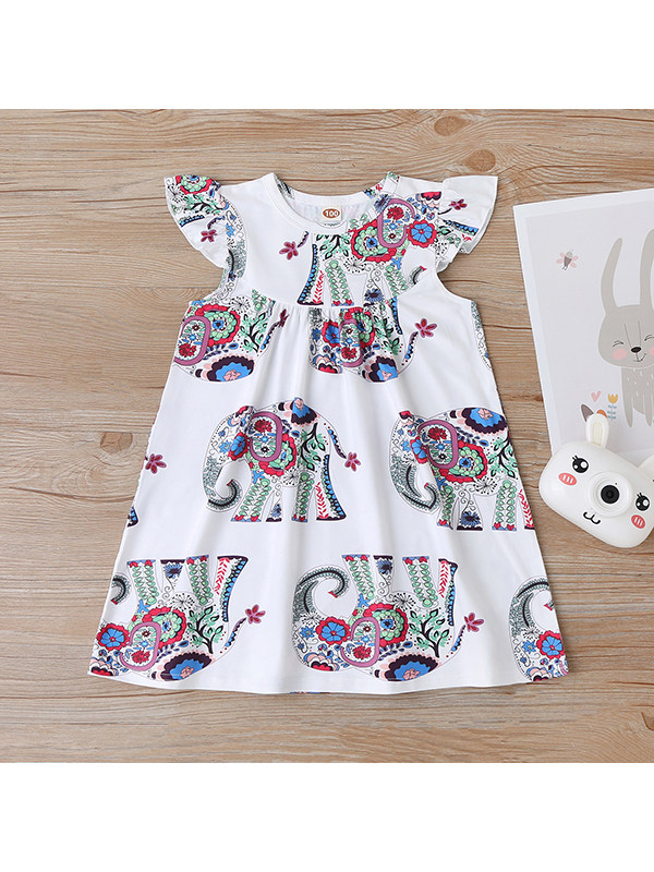 【12M-5Y】Girls Round Neck Flying Sleeve Cartoon Print Dress