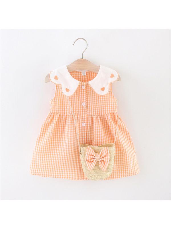 【12M-4Y】Girls Doll Collar Sleeveless Plaid Cute Princess Dress With Small Bag