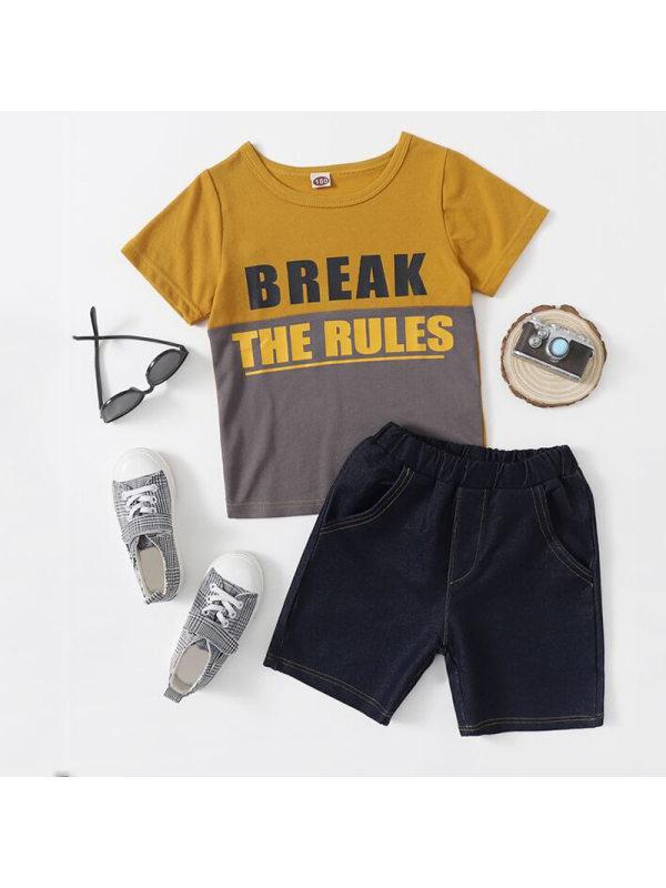 【18M-7Y】Boys Color-blocking Letter Pattern Short-sleeved ShortsTwo-piece Suit