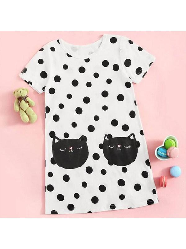 【18M-7Y】Girls Short-sleeved Polka-dot Dress