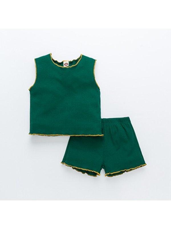 【18M-7Y】Girls Vest Shorts Two-piece Suit
