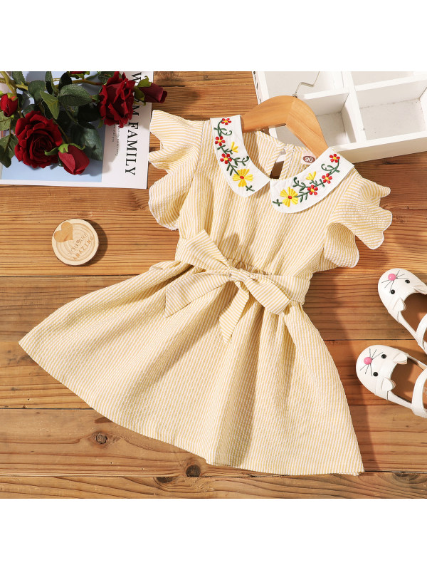 【18M-7Y】Sweet Flower Embroidered Yellow Striped Dress