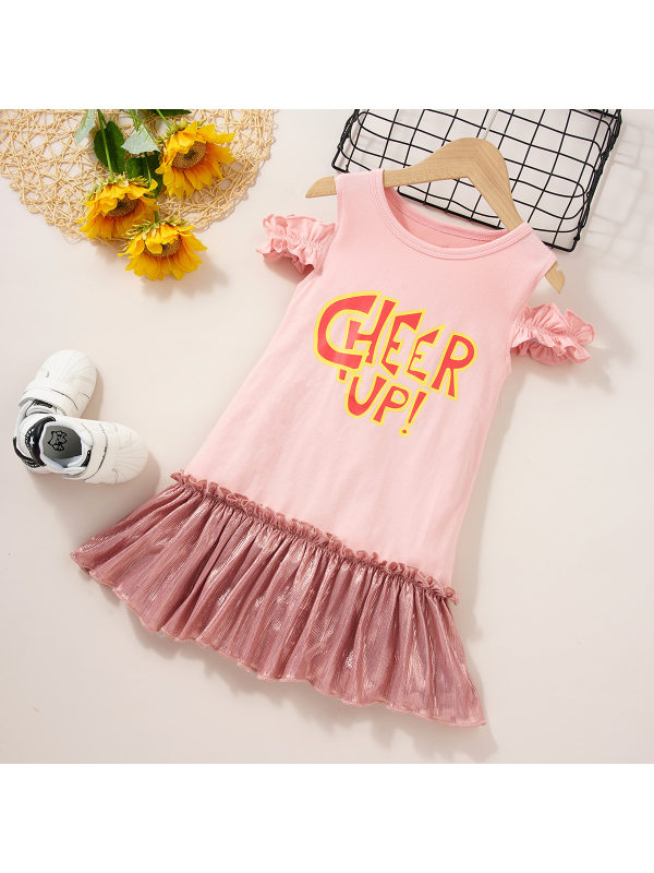 【18M-7Y】Sweet Letter Print Pink Dress