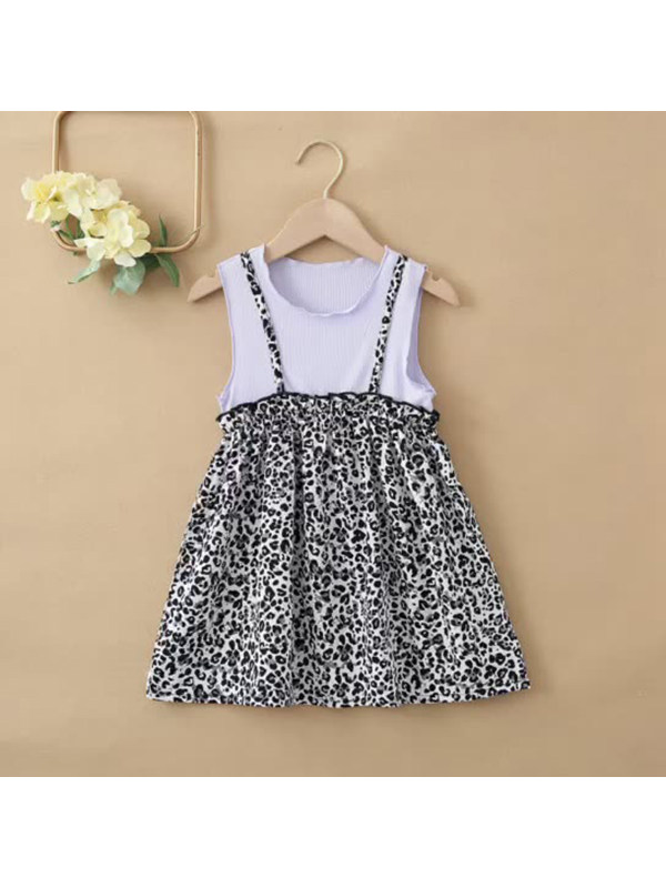 【18M-7Y】Girls Round Neck Suspenders Fake Two Leopard Print Dresses
