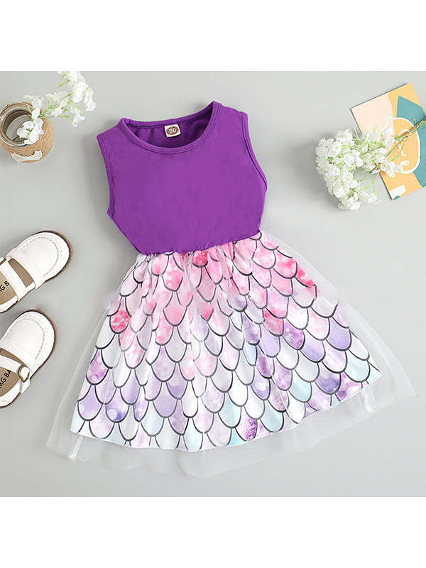 【12M-5Y】Girls Mesh One-piece Printed Dress
