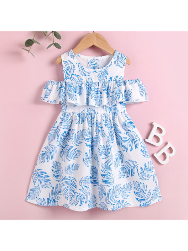 【18M-7Y】Cute Blue Leaf Print Off The Shoulder Dress
