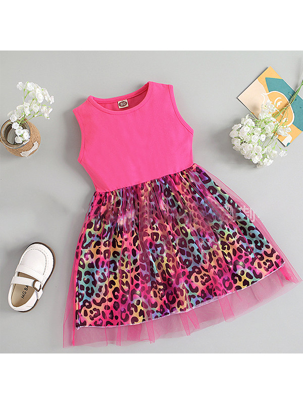 【12M-5Y】Girls Mesh One-piece Leopard Print Dress