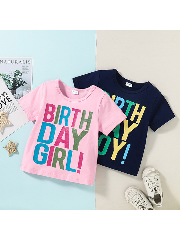 【18M-6Y】 Round Neck Letter Print T-shirt