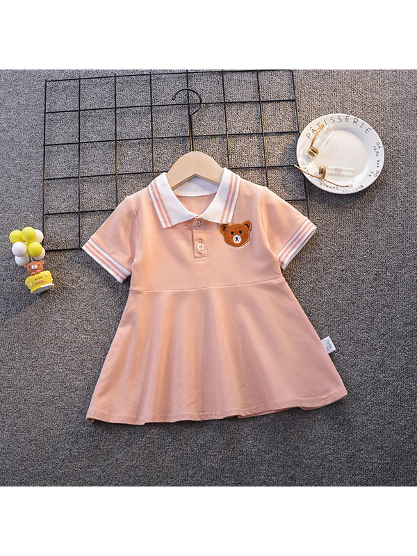 【12M-5Y】Girls Polo Collar Short Sleeve Dress