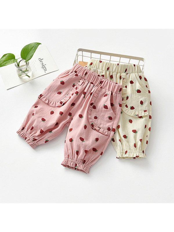 【18M-9Y】Girls Strawberry Print Cotton And Linen Casual Five-point Shorts