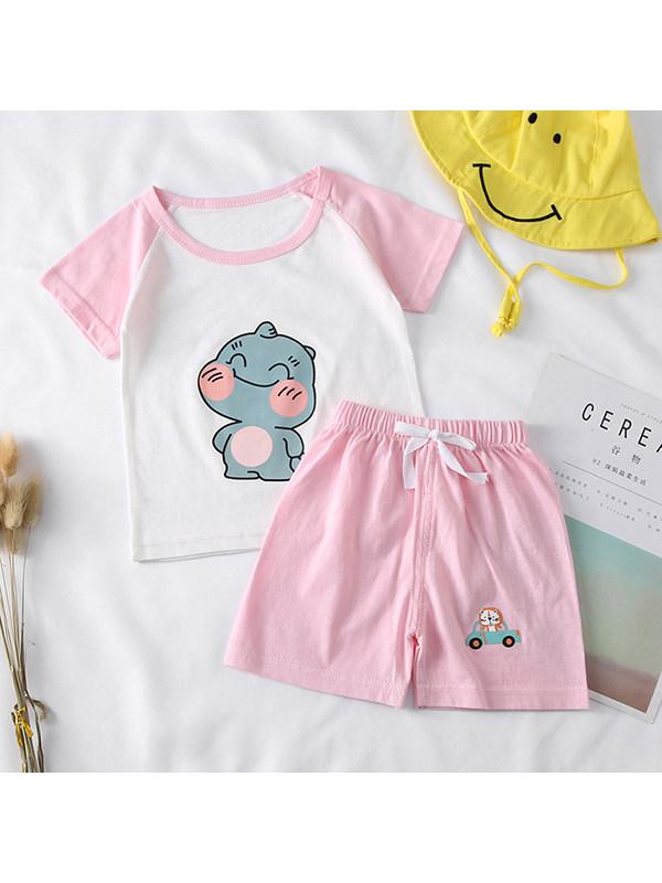 【12M-5Y】Boys Round Neck Raglan Sleeve Cartoon Print T-shirt with Shorts Set