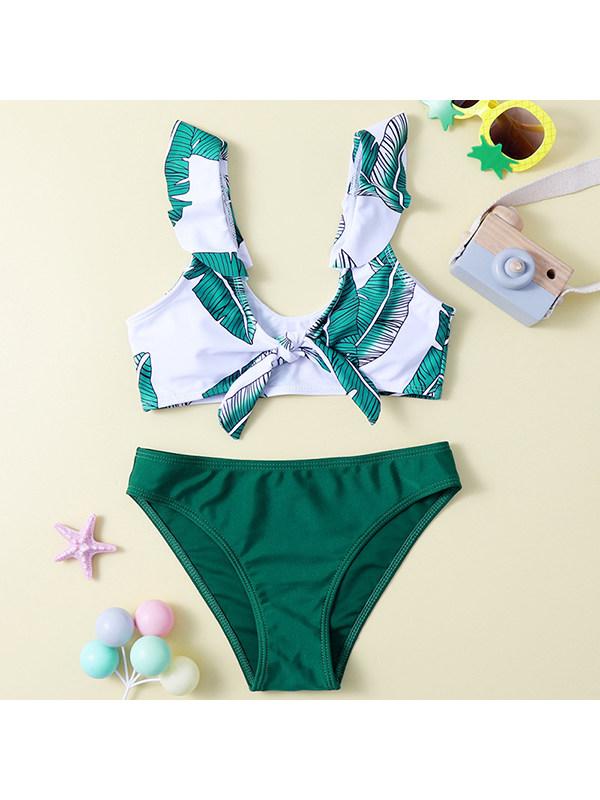 【6Y-13Y】Girls Leaf Print Bikini Ruffled Split Swimsuit