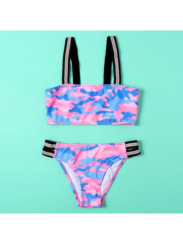 【6Y-13Y】Girls Camouflage Bikini Swimsuit With Suspenders
