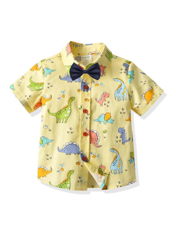 【12M-7Y】Boys Cartoon Dinosaur Print Short-sleeved Collar Shirt