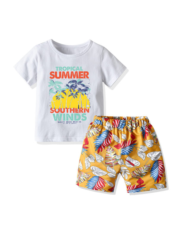 【12M-7Y】Boys Summer Beach Vacation Style Short Sleeve T-shirt Shorts Two-piece Suit