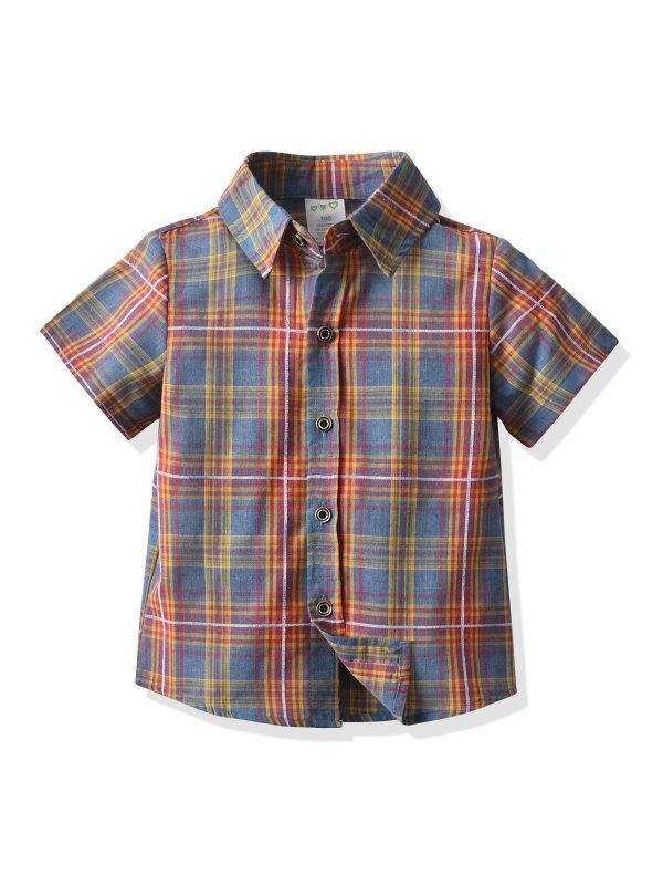 【12M-7Y】Boys Plaid Short Sleeve Shirt