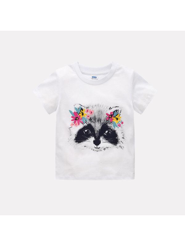 【12M-7Y】Girls Cartoon Print Short Sleeve T-shirt