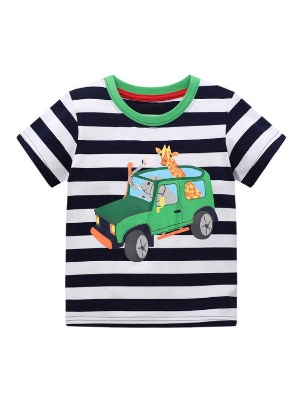 【18M-9Y】Boys Striped Cartoon Print Short Sleeve T-shirt