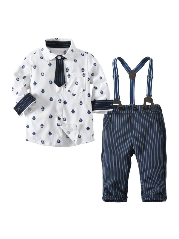 【12M-4Y】Baby Long-sleeved Shirt Three-piece Suit