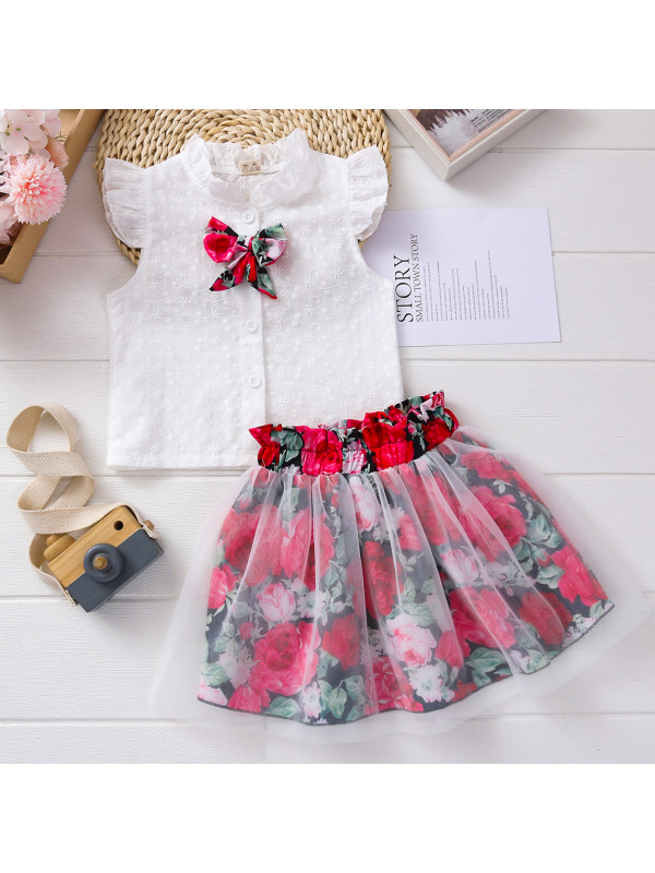 【18M-7Y】Sweet Embroidered White Shirt and Floral Skirt Set