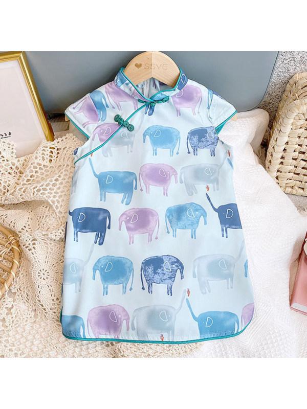 【18M-7Y】Girls Sweet Elephant Pattern Stand Collar Short Sleeve Dress