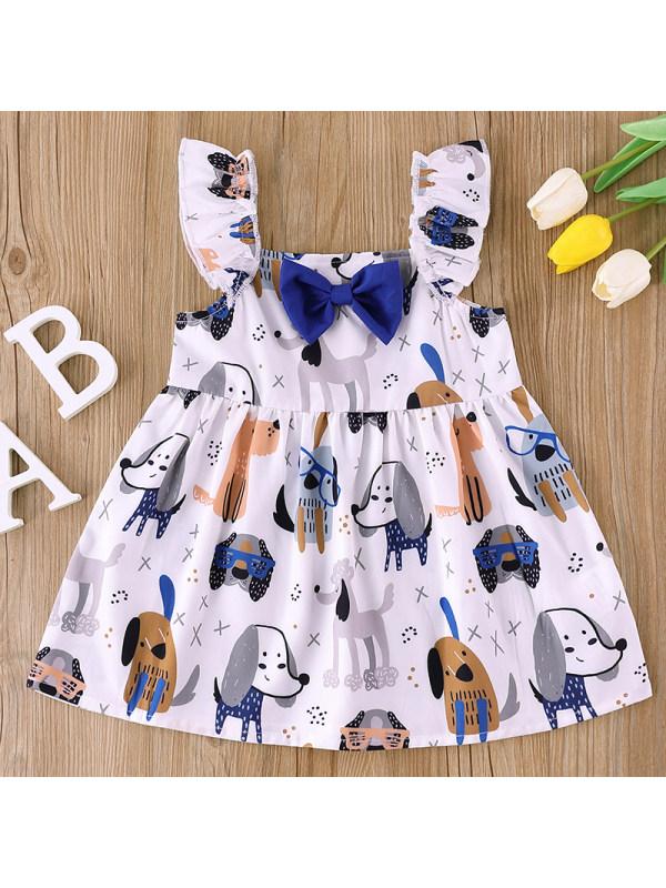 【6M-2.5Y】Girl Sweet Cartoon Pattern Bow Dress