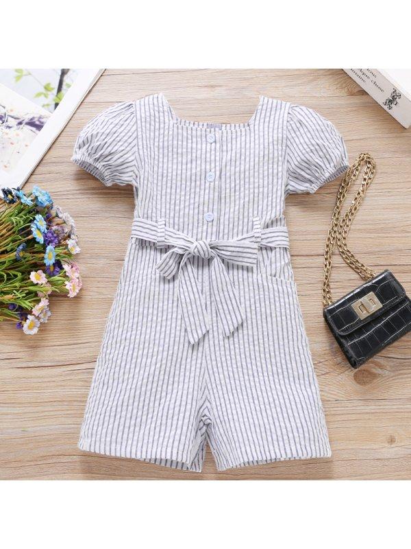 【18M-7Y】Girl Sweet Striped Short Sleeve Jumpsuit