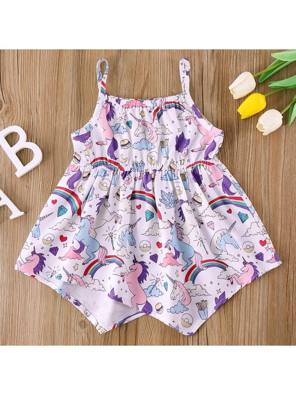 【6M-2.5Y】Girl Sweet Unicorn Pattern Sling Dress