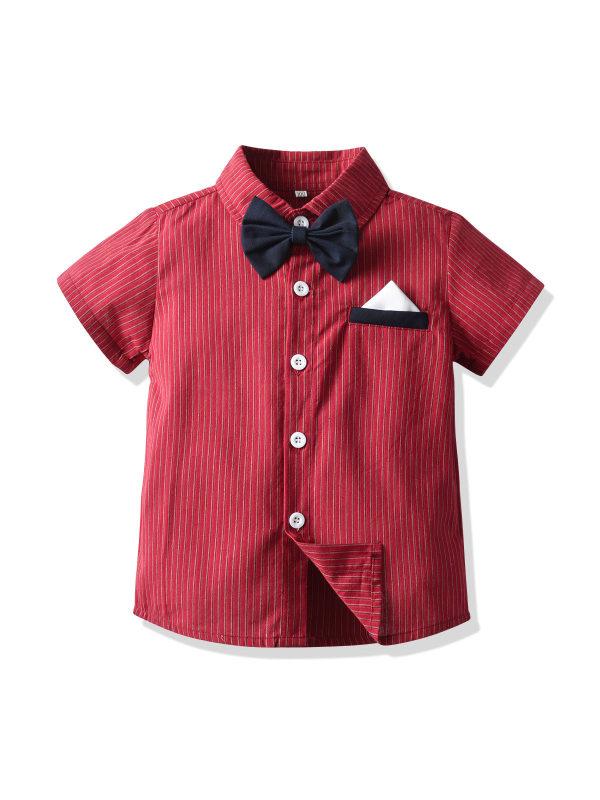 【12M-7Y】Boys' Cotton Striped Short-sleeved Shirts