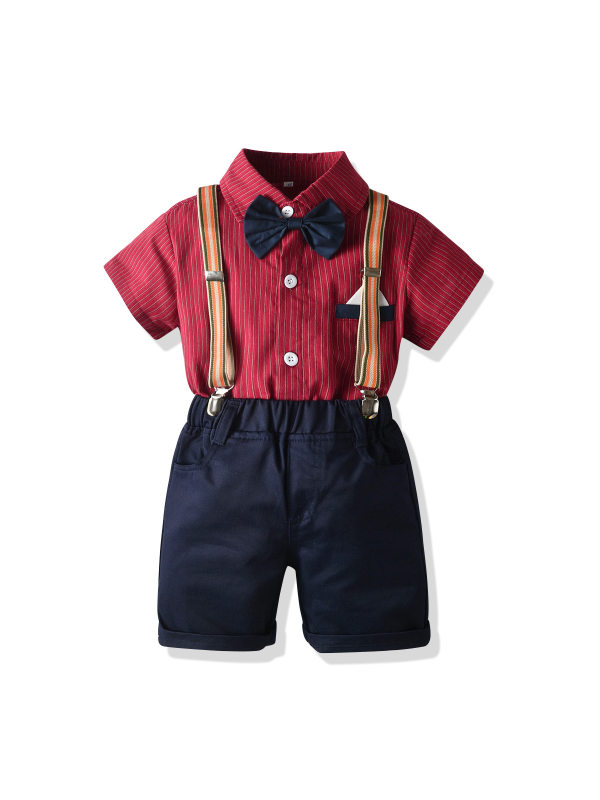 【12M-7Y】New Gentleman Striped Short-sleeved Bow Tie Shirt Suit