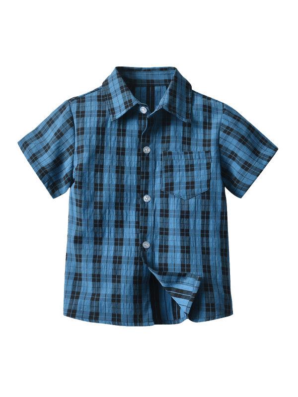 【12M-7Y】Boys Short-sleeved Lapel Button Button Shirt