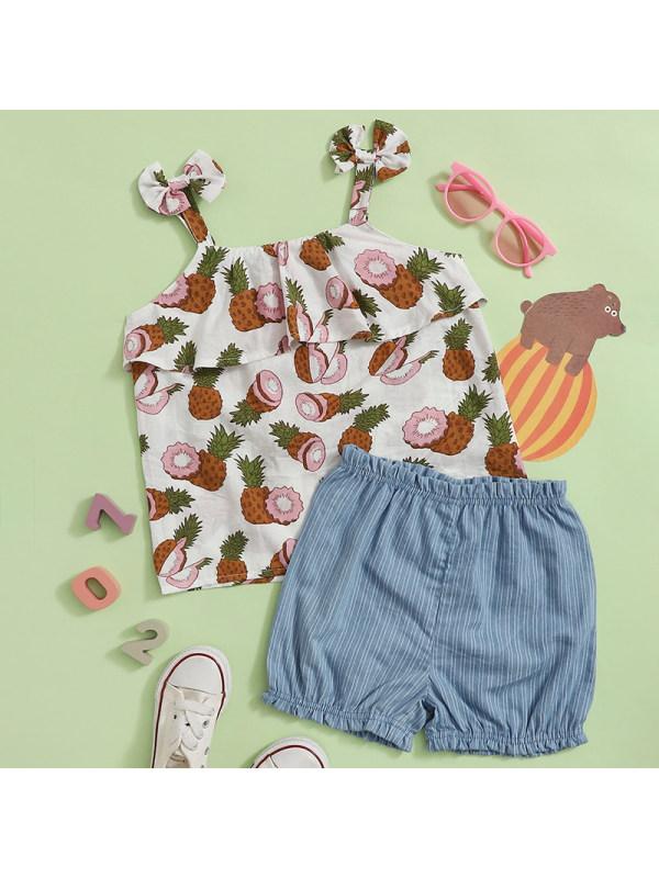 【18M-7Y】Girl Sweet Fruits Sling Top Denim Shorts Set