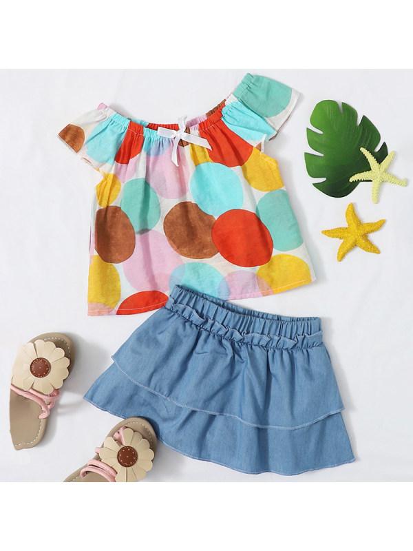 【6M-2.5Y】Girls Sweet Color Polka Dot Top Denim Shorts Set