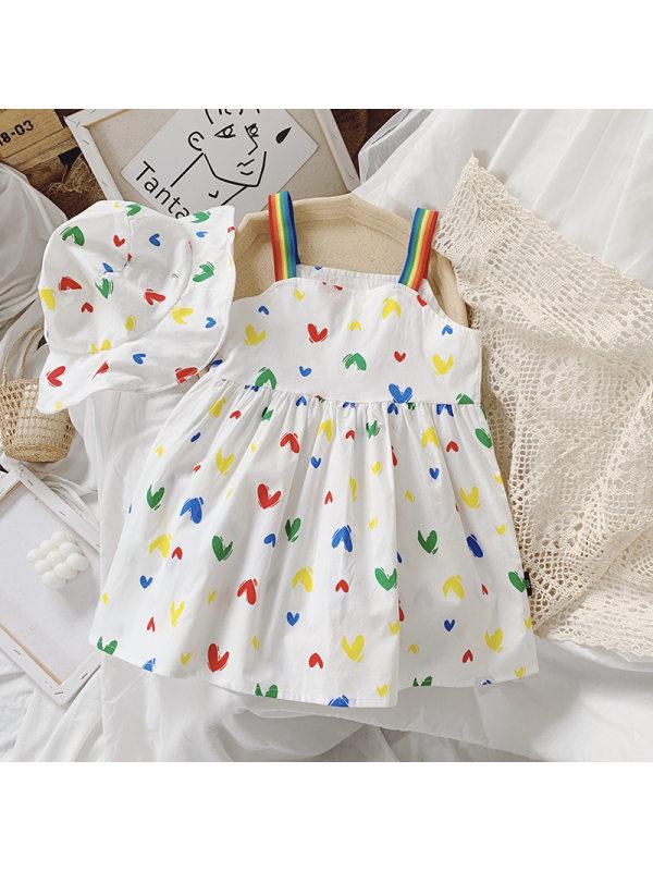 【18M-7Y】Girls Love Print Suspender Dress