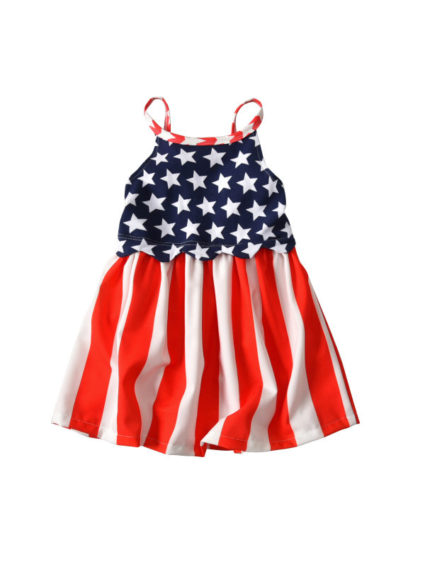 【12M-5Y】Girls Summer American Flag Independence Day Sling Dress