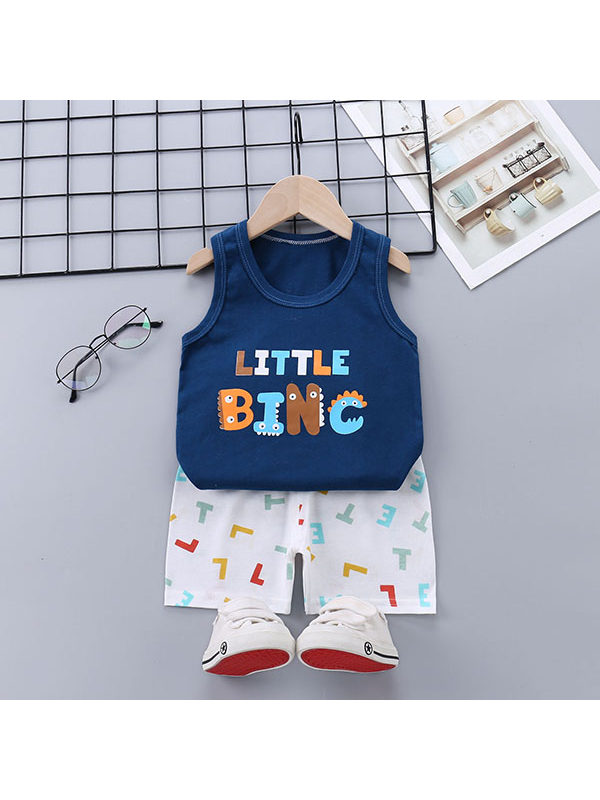 【18M-5Y】Boys Cartoon Print Tank Top and Shorts Two-piece Suit