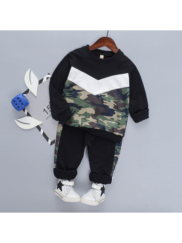 【18M-7Y】Boys' Contrast Stitching Camouflage Sports Suit