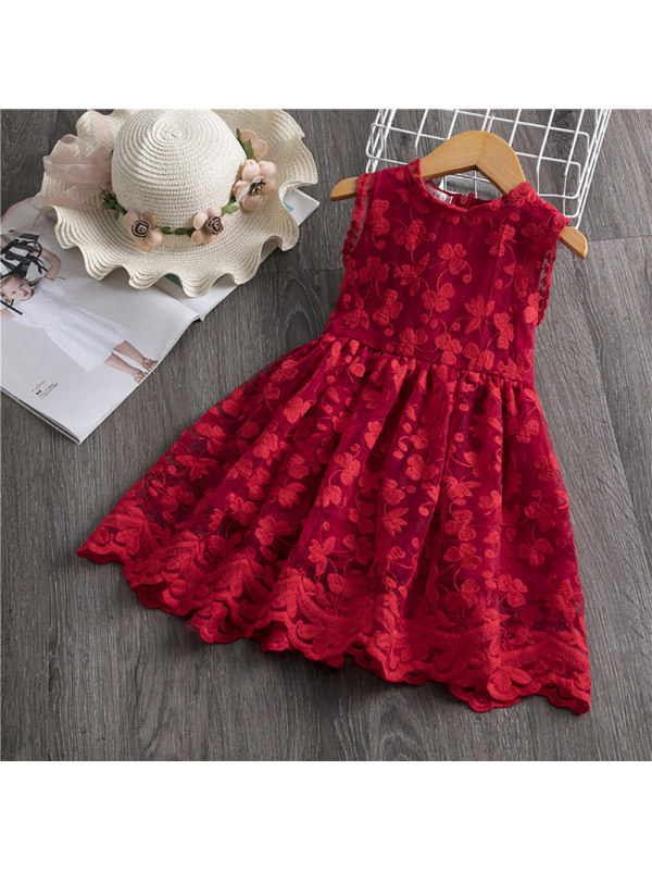 【18M-7Y】Girl's Butterfly Embroidery Sleeveless Dress