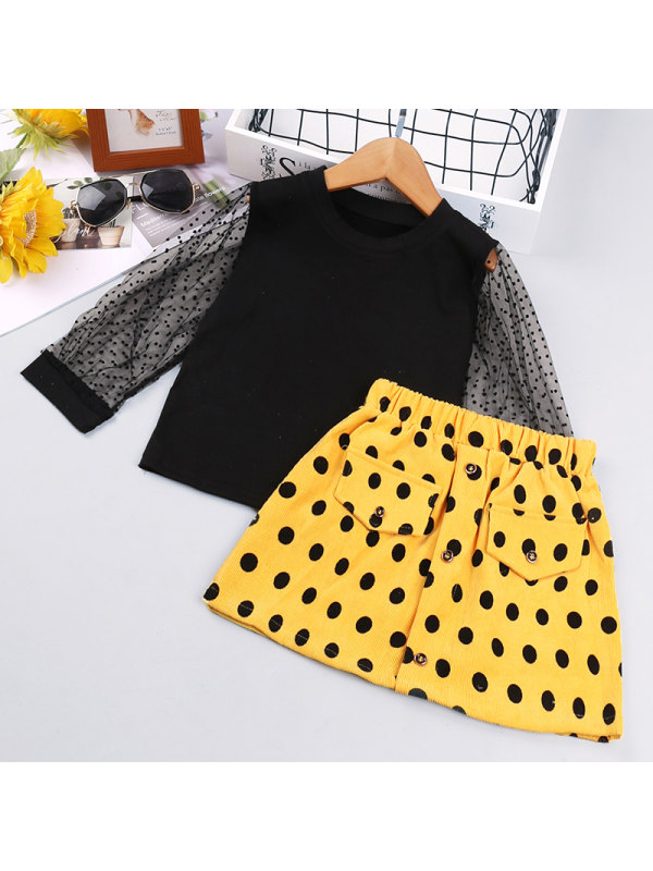 【18M-7Y】Girl Bubble Long-sleeved Polka-dot Skirt Two-piece Suit