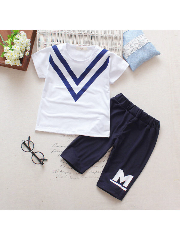 【18M-5Y】Boys Color Stitching Short Sleeve Two-piece Suit