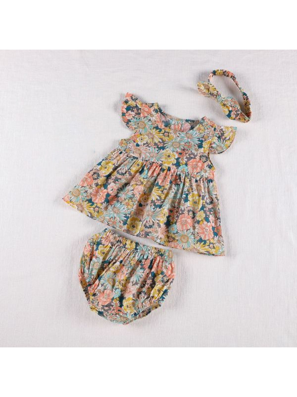 【3M-3Y】Baby Girl Little Flying Sleeve Dress with Triangle Shorts Two-piece Set
