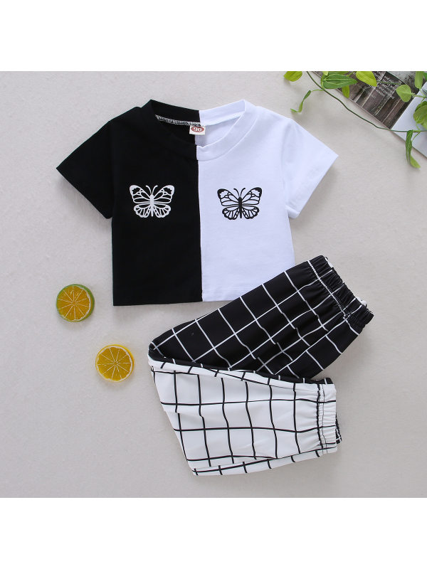 【18M-7Y】Girls Black And White Color Matching Blouse With Plaid Trousers Suit