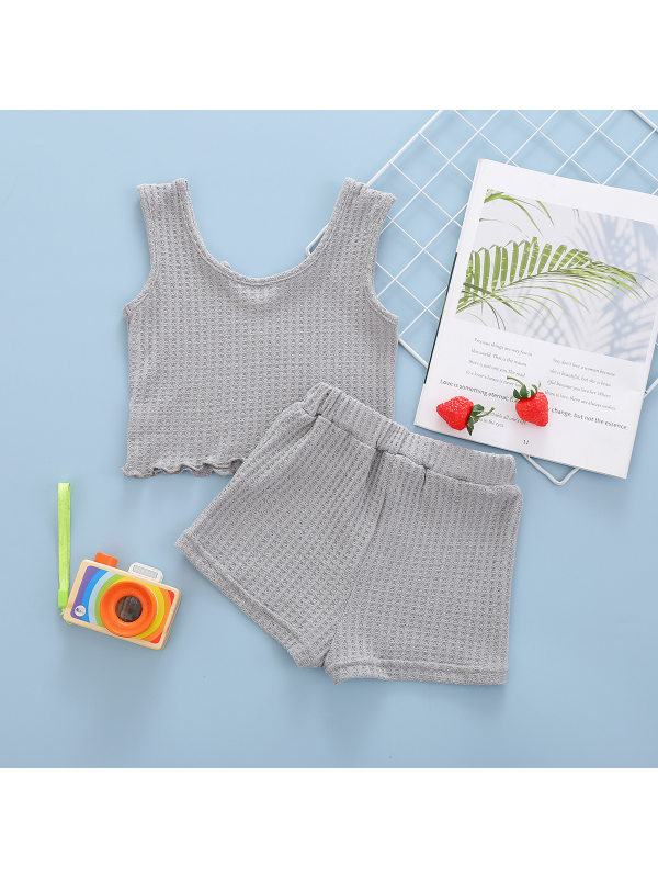【18M-7Y】Girls' Solid Color Short Sleeveless Tank Top And Shorts Two-piece Suit