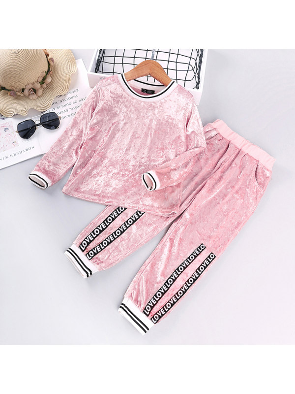 【2Y-9Y】Girls Velvet Long-sleeved Two-piece Sports Suit